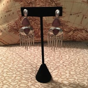 Lucky Brand dangle drop earring brown stone fringe